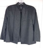 EILEEN FISHER womens size S Petite black 100% silk embroidered open front blazer