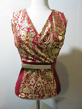 Top Medium Burgundy Red Gold Metallic Criss Cross Chest Stretchy Sexy NWT G1