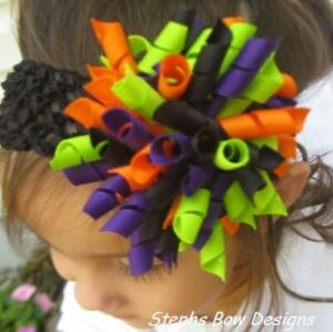 Halloween Round Full Korker Hair Bow Headband FITS Preemie Newborn Toddler Cute