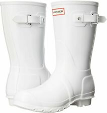LADIES ORIGINAL SHORT HUNTER WHITE WELLIES WELLINGTON WALKING RAIN BOOTS SIZE 8