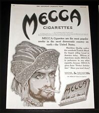 1915 OLD MAGAZINE PRINT AD, MECCA, MOST POPULAR CIGARETTE IN UNITED STATES, ART!