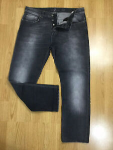 Mens 7 for All Mankind CHAD Button Fly Stretch Straight Grey Jeans W34 L28 Biker
