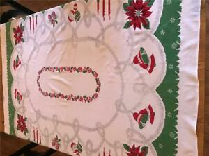 """Lovely Vintage Christmas Tablecloth 59"""" x 52"""""""