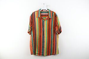 Vintage 90s Streetwear Mens Large Multicolor Striped Short Sleeve Button Shirt