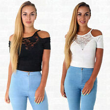 Polyester Crew Neck Cropped Tops & Blouses for Women