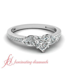 .85 Ct Heart Shape Very Good Cut Diamond Pave Set Engagement Ring Solid 14K Gold