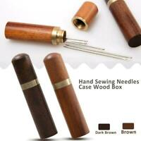 Wooden Sewing Organizer Needle Box Safety Case Toothpick Storage Holder
