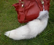 Super Large White Fox Tail Keychain Fur Tassel Bag Tag Charm Keyring