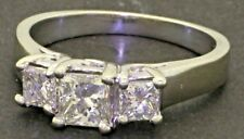 14K WG 1.0CT Princess diamond 3-stone wedding/engagement ring w/ .50CT ctr.