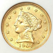 1904 Liberty Gold Quarter Eagle $2.50 Coin - Certified ANACS AU55 Details