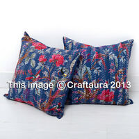 "Decorative Indian Floral Pillow Cover 16"" Kantha Pillow Cushion Cover Throw Pair"