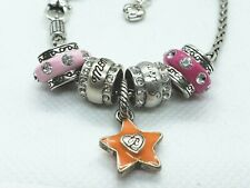 BRIGHTON Pink Crystal Beads Enameled STAR  Silver ABC CHARM Bracelet