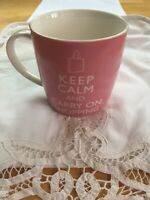 Keep Calm And Carry On Shopping   Pink Cup Mug