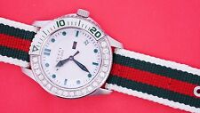 2 Ct Diamond Gucci YA126231 G Timeless Nylon Band White Dial Sport Watch ASAAR