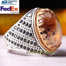 Turkish Handmade 925 Sterling Silver Yemeni Agate Aqeeq Luxury Mens Ring