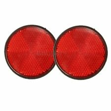 "2x 2"" Motorcycles ATV Bikes Dirt Bikes Round Red Reflectors + Mounting Screw 12V"
