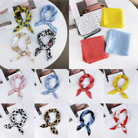Women Silk Feel Satin Small Square Scarf Retro Head Neck Hair Band Wristband~