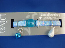 Cat Collar - Shimmer Blue - Safety Release Clip - Blue Heart Bell&Teardrop Bell