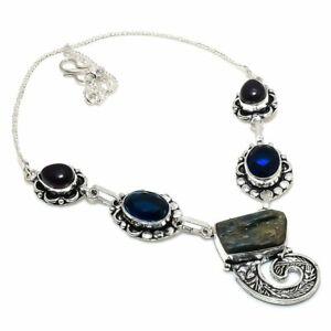 "Blue Kyanite, Blue Topaz Gemstone 925 Sterling Silver Jewelry Necklace 18"" H271"
