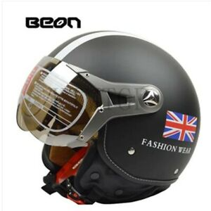 Beon 113F Matt Black England Half Motorcycle Safety Helmet ECE Certified