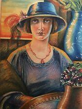Vtg. KOZAK Original Color Painting PORTRAIT of Woman Gold Detail Unframed Signed