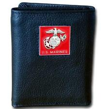 U.S. Marine Corps Mens Leather Tri-fold Wallet Black USMC