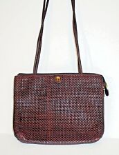 Aigner Soft Woven Leather Shoulder Bag Very Nice Details Brown Weave