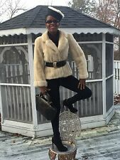 Designer cuffed sable cream white Mink Fur coat jacket bolero Stroller S-M 2-10