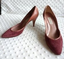 Casadei Womens Sz 8 Heels Leather Suede Rose Plum Colored Studded Bling Pumps