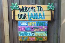 WELCOME TROPICAL LANAI TIKI BAR HUT DECK POOL BEACH  HAND MADE SIGN  PLAQUE