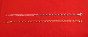 11 INCH 14KT GOLD & WHITE GOLD PLATED 4MM NECKLACE EXTENDER W/ LOBSTER CLAW SET