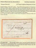 1817 GLASGOW BARRACKS M BARLOW SOLDIER's 1d CONCESSION LETTER TO BANNOCKBURN