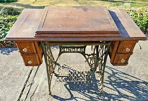 Antique Singer Treadle Cabinet Table 4 Drawer Oak Cast Iron VTG NO Machine