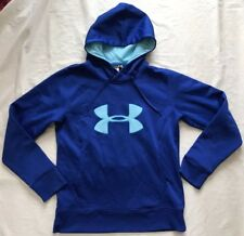 Womens Under Armour Semi-Fit Blue Big Logo Pullover Sweatshirt Hoodie MD Med