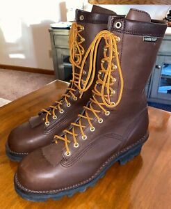 """DANNER M's 10"""" Quarry Logger GTX EH brown leather work boots sz 12 D EUC 14534"""
