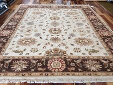 8 x 10 Ivory Chocolate Hand Knotted Vegetable Dyed Floral Carpet