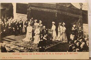 Netherlands Dutch King Plechtiqge Opening Van De Beurs Door Koningin Postcard PC