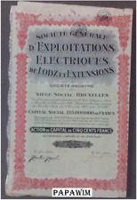 SA d'EXPLOITATIONS ELECTRIQUES - Brussel - action de capital - 31 december 1927