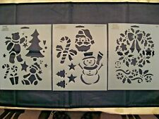 "Vintage Simply Stencils by Plaid Lot of 3 Christmas Stencils - all 10""T x 8""W"