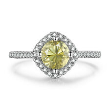 6mm Round Pave,Prong 1.4CT Citrine Diamonds Ladys 18K White Gold Engagement Ring