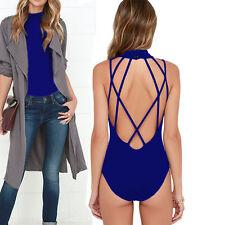 Women's Choker Bodysuit Open Back Tops Sleeveless Blouse Shirt Club Bodysuit S-L