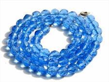 "16.5"" vintage necklace transparent Sapphire blue faceted Czech glass beads"