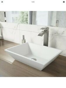 Vigo White Vinca Countertop Stone Rectangle Vessel Bathroom Sink, Matte White