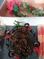 Vintage Christmas 4 Candle Centrepiece with Ivy, pine cones and red candles
