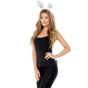 Adult Animal Rabbit Fancy Dress Set Ears on Headband & Tail Kit White by Smiffys