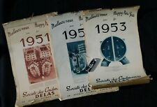 LOT 3 - TROIS GRANDS CALENDRIERS EPOQUE INDOCHINE 1951 + 1952 + 1953
