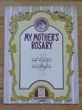 "VINTAGE 1915 SHEET MUSIC ""MY MOTHER'S ROSARY"" LARGE FORMAT"