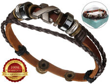 Genuine Surfer Leather Bracelet Mens Wristband Rope Braided Button Surf Wrap