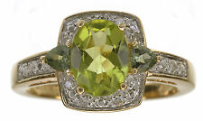 14 KT Yellow 1.25 Ct tw Olive Apatite and Diamond Accent Ring Size 5