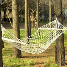 Deluxe Hammock Hang Tree Person Patio Bed Swing Cotton Rope Outdoor BBQ Picnic